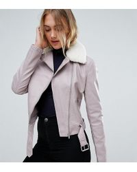 New Look - Faux Leather Shearling Collar Biker Jacket - Lyst
