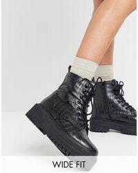 Simply Be Ботинки На Шнуровке С Рифленой Подошвой Extra Wide Fit-черный