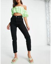 ASOS - Farleigh - Mom jeans slim a vita alta nero pulito - Lyst