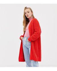 Collusion Oversized Chenille Midi Cardigan - Red