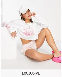 New Girl Order Exclusive Boys Lie Long Sleeve Crop Top - White