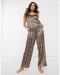ASOS Printed Satin & Lace Cami & Pant Pyjama Set-brown