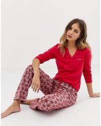 Calvin Klein Pijama con estampado de estrellas - Rojo