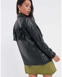 Muubaa Western Fringed Leather Jacket - Black