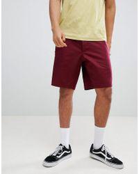 ASOS - Slim Longer Shorts In Burgundy - Lyst
