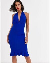 AX Paris Halter Neck Midi Dress - Blue