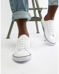 ASOS - Lace Up Plimsolls In White - Lyst