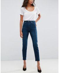 ASOS - Farleigh High Waist Deconstructed Slim Mom Jeans In Belle Green Cast - Lyst