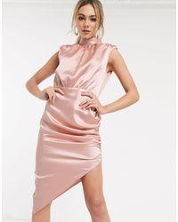 John Zack Асимметричное Атласное Платье Миди С Высоким Воротом -розовый