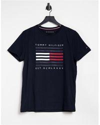 Tommy Hilfiger Темно-синяя Футболка С Логотипом -темно-синий