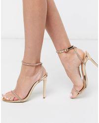 SIMMI Shoes Золотистые Декорированные Босоножки На Каблуке Simmi London-золотистый - Металлик
