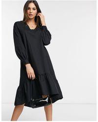 Vero Moda Midi Smock Dress With Balloon Sleeves - Black