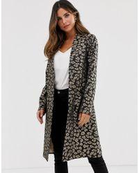 Helene Berman Edge To Edge Duster Coat In Leopard Print - Brown