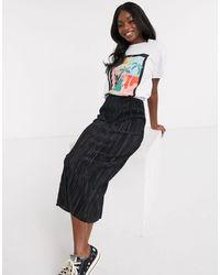 ASOS Plisse Column Midi Skirt - Black