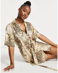 Motel Платье-рубашка Мини С Леопардовым Принтом Песочного Цвета -бежевый - Естественный