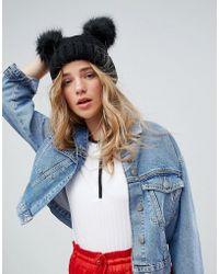 New Look - Double Faux Fur Pom Hat - Lyst