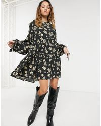 Capulet Celeste Floral And Butterfly Tiered Mini Dress-black