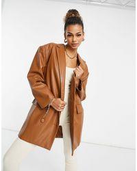 UNIQUE21 Pu Oversized Blazer - Brown