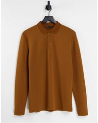 ASOS Long Sleeve Polo T-shirt - Brown