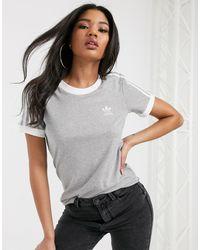 adidas Originals - Серая Футболка С Отделкой И 3 Полосками -серый - Lyst
