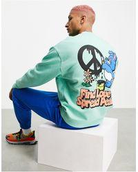 ASOS Oversized Sweatshirt With Bunny Back Print - Green