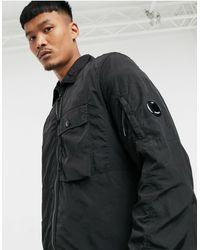 C.P. Company Черная Куртка Из Хромированной Ткани С Линзой На Рукаве На Молнии C.p. Company-черный