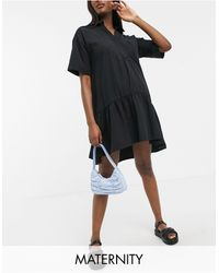 GeBe Maternity Smock Shirt Midi Dress - Black