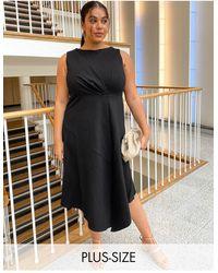Closet London Plus Sleeveless Midaxi Dress With Fluted Hem - Black