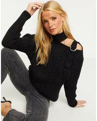 River Island Cold Shoulder Cable Knit Jumper - Black