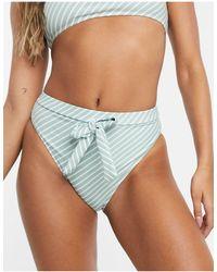 Missguided - Slip bikini a righe con laccetti - Lyst