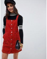 Miss Selfridge - Button Through Pinny Dress In Rust - Lyst