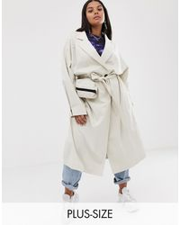 Collusion Plus Trench Coat With Removable Bag - Natural