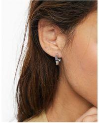 Whistles Textured Hoop Earrings - Gray