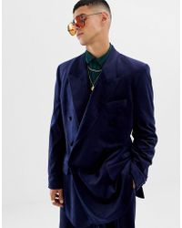 ASOS Slouchy Double Breasted Suit Jacket In Navy Velvet - Blue