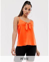 River Island Tie Front Cami Top - Orange