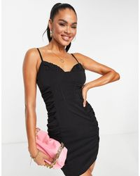 Naanaa Ruched Side Bodycon Dress - Black