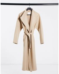 Vila Waterfall Maxi Coat With Tie Waist - Natural