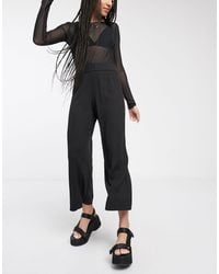 Monki Cilla Jersey Ribbed Wide Leg Cropped Pants - Black