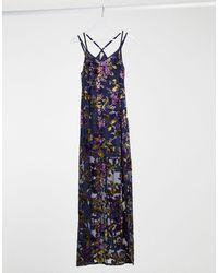 Raga Viola Velvet Maxi Slip Dress - Blue