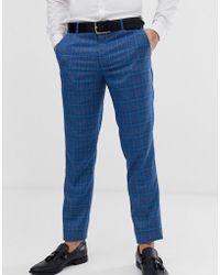 Original Penguin Pantalones de traje y corte slim a cuadros Príncipe de Gales en azul