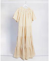TOPSHOP Бежевое Свободное Платье Миди -бежевый - Естественный