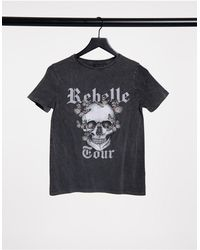 New Look –Grunge – Boyfriend-T-Shirt mit Totenkopf-Motiv - Grau