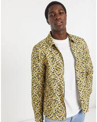 River Island Overhemd Met Lange Mouwen En Abstract Print - Geel