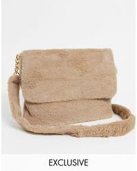 Glamorous Exclusive Faux Fur Cross Body Bag - Natural