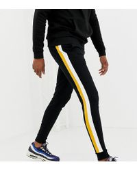 ASOS Tall super skinny joggers with side stripes in black - Schwarz