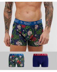 Original Penguin Lot de 2 boxers à fleurs tropicales - Bleu