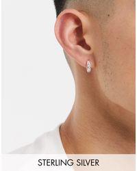 Reclaimed (vintage) Inspired - Boucles d'oreilles anneaux en argent massif avec chaîne - Métallisé