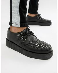 T.U.K. Vegan Platform Creepers With Stud Detail - Black