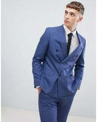 Moss Bros Giacca da abito skinny doppiopetto blu