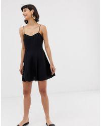 & Other Stories Other Stories Spaghetti Strap Mini Skater Dress In Black